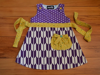 *asQ* ONE OFF DESIGN! Purple and Mustard Pinafore, a Royal Combination ~ Size 3