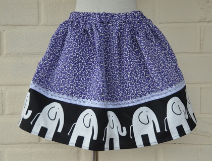 *asQ* ONE OFF DESIGN! Cute Skirt with Elephants, Purple and Hint of Silver Sparkle ~ Size 4-6
