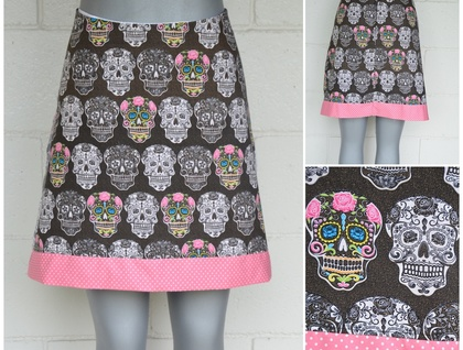 *asQ* ONE OFF DESIGN! Day of the Dead Skirt ~  Size 8 - 18!!
