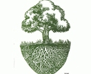 Lino-print  'Deep rooted tree'(green)