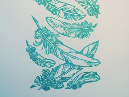 'Failling Feathers' Lino-print...  (Yes they're back!)