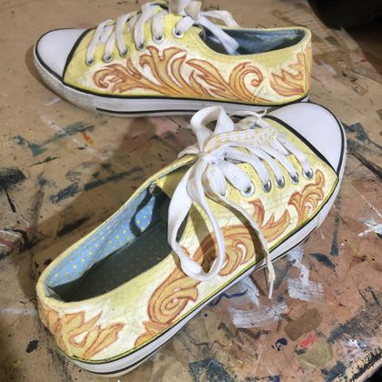Painted Up-cycled sneakers