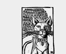 Lino-cut  'Cat guy'