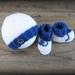 100% Wool Hat & Bootie Set (Blue) - 0-3 Months