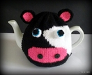 Knitted Friesian Cow Tea Cosy
