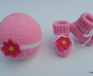 Daisy Hat & Bootie Set - (Your Choice of Colours)