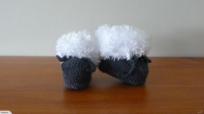 Ugg Booties (Charcoal) - 0-3 Months