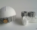 Mock Cable Button Hat & Bootie Set (Your Choice of Colours)