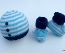 Striped Button Hat & Bootie Set (Your Choice of Colours)