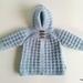 100% Wool Handknitted Hoodie (Light Blue) - 0-6 Months