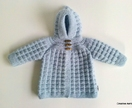 100% Wool Handknitted Hoodie (Light Blue) - 0-6 Months