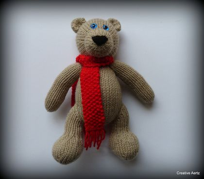 Hand Knitted Brown Teddy Bear with Red Scarf