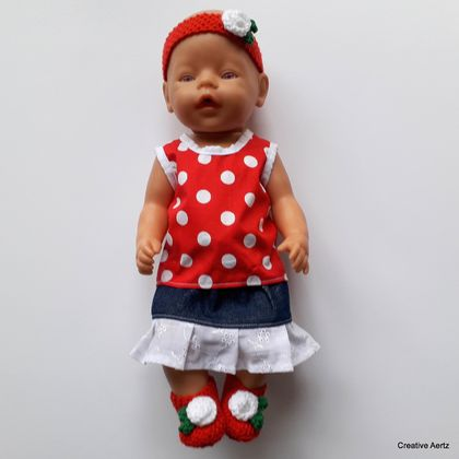 Red and White Polka Dot Set for 18 inch Doll