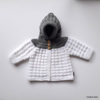 Hand Knitted Hoodie - Grey/White (0-6 Months)