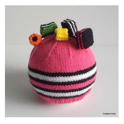 Knitted Licorice Allsorts Hat - 1-2 Years