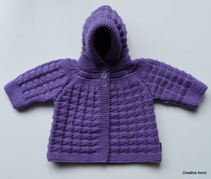 Hand Knitted Hoodie - Lavender (0-6 Months)