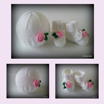 Rose Hat & Bootie Set (Made to Order)