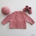 Hand Knitted Dusky Pink Layette/Set (0-3 Months)