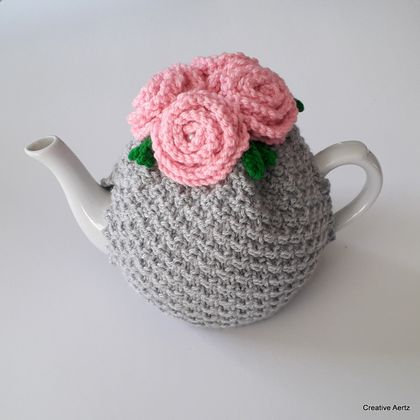 Rose Tea Cosy - Silver and Pink (Medium)