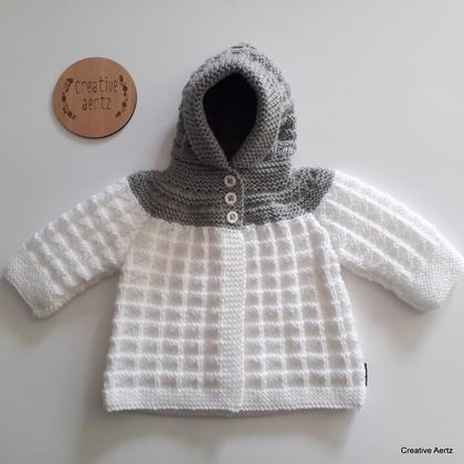 Hand Knitted Hoodie - Grey & White (0-6 Months)