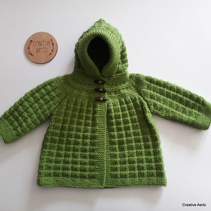 Hand Knitted Hoodie - Green (6-12 Months)