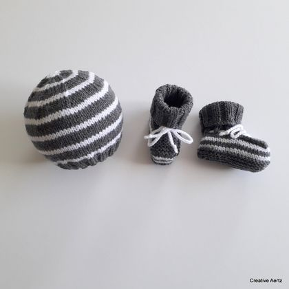 Striped Hat & Bootie Set (Charcoal & White) - 3-6 Months