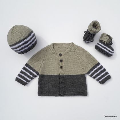 Hand Knitted Charcoal & Tan Layette/Set (0-3 Months)