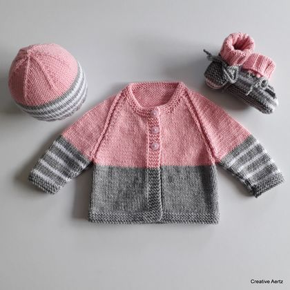 Hand Knitted Grey & Pink Layette/Set (0-3 Months)