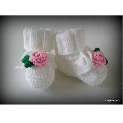 Knitted Rose Booties (Made to Order)