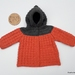 *** SALE ***  Hand Knitted Hoodie - Charcoal/Salmon (6-12 Months)