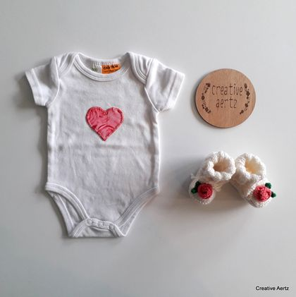 SALE - Rose Onesie and Bootie Set - Newborn