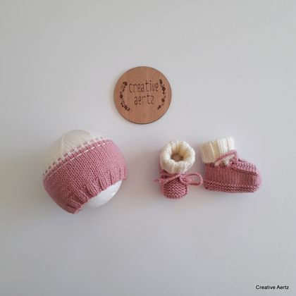 Rose Pink & Cream Hat & Bootie Set (Acrylic) - 0-3 Months