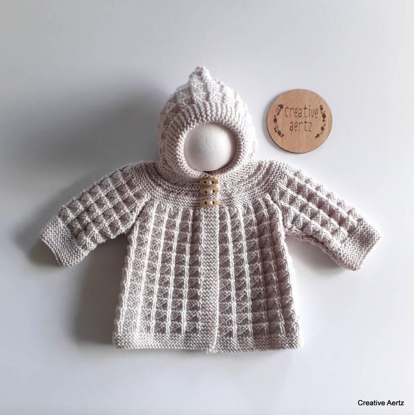 Hand Knitted Hoodie - Natural Beige 100% Merino (0-6 Months)
