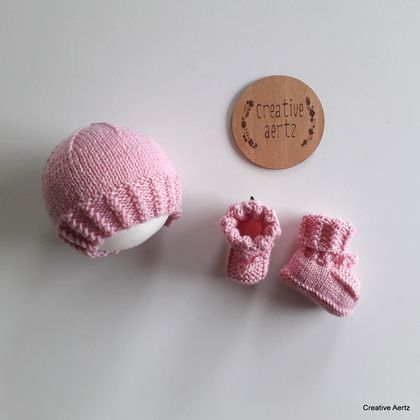 Pink Cable Hat & Bootie Set (100% Wool) - 0-3 Months