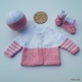 Hand Knitted Pink & White Layette/Set (NB/0-3 Months)