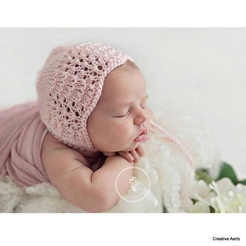 Handknitted Bonnet - Newborn (Your Colour Choice)