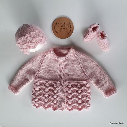 Hand Knitted Pink Layette/Set - 100% Wool (0-3 Months)