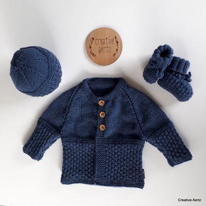 Hand Knitted Denim Blue Layette/Set - 100% Wool (0-3 Months)