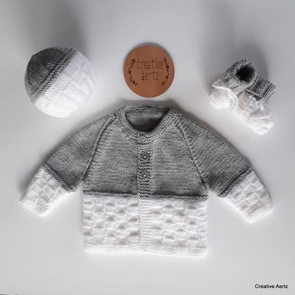 Hand Knitted Grey and White Basketweave Layette/Set (0-3 Months)