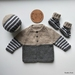 Hand Knitted Dark Grey, White & Light Brown Striped Set (0-3 Months) (Acrylic)