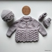 Hand Knitted Silver Grey Set - 100% Wool (0-3 Months)