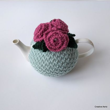 Duck Egg & Raspberry Rose Tea Cosy (Small)