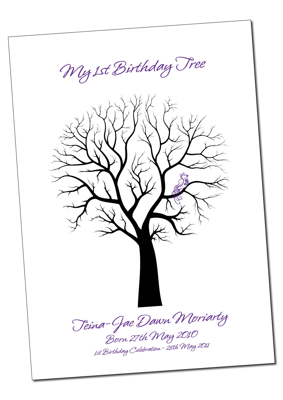birthday anniversary baby shower fingerprint guestbook tree
