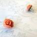 Small Coral Rose Bud Stud Earrings