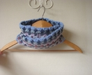 Childs Granny Cowl / infinity scarf, suit preschoolers to tweens - Crochet Blues, greys with red and purple
