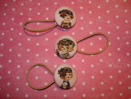 3 x Paper doll face hair ties