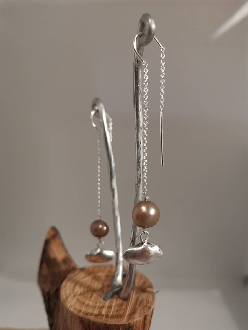 A Pipi & A Pearl, Silver Threader Earrings