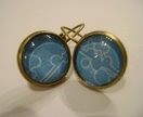funky blue and white image earings