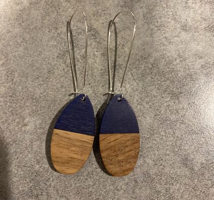 Navy and wood oval earrings