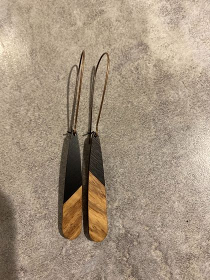 Black and wood earrings teardrop